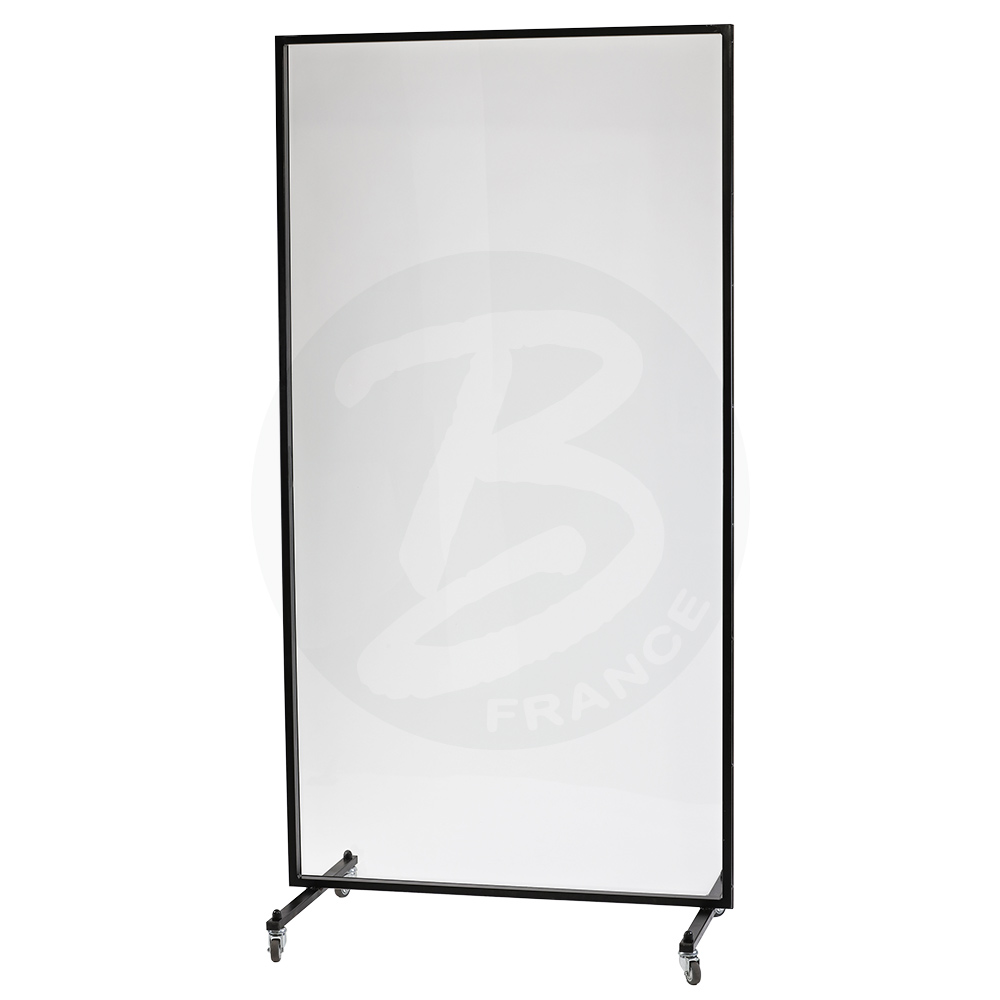 Movable transparent protective partition on wheels (2 x 1m)