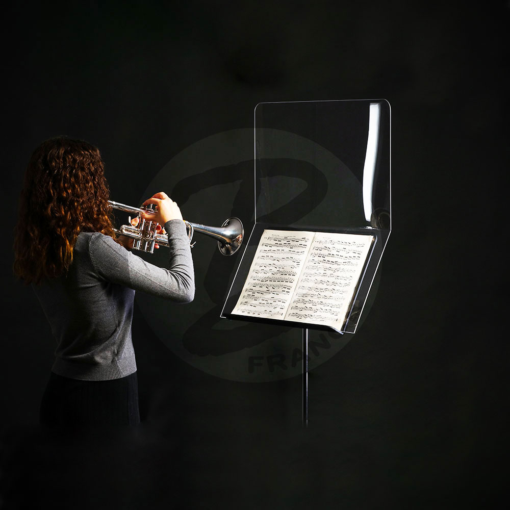 Anti-projection protective screen for music stand